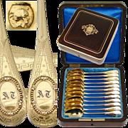 SALE Antique Napoleon III Casket, 12pc French .800/1000 Spoon Set - GRANDVIGNE (Tetard ...