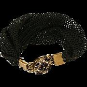 SALE Antique Victorian Rolled Gold & Garnet Clasp Hair Art Bracelet