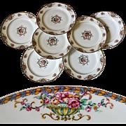"SALE Set of 7 Vintage Haviland, Limoge  7.5"" Salad, Dessert Plates - Pattern: Commodore,"