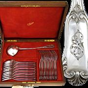 SALE Antique French PUIFORCAT .800/1000 Silver 25pc Flatware Set: 12/12 Dinner Forks & Spoons,
