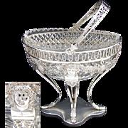 SALE Antique Continental Silver .800/1000) & Crystal Bonbon Basket, Figures