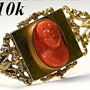 SALE Antique Victorian Red Coral Cameo, 10K Gold Brooch, Watch Pin