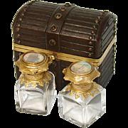 SALE Antique Grand Tour Perfume Casket, Two HP Eglomise Scents