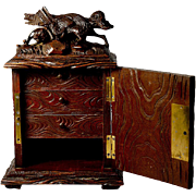 SALE Antique Black Forest Carved Fox, Upright Jewelry Chest, Box - Animalier Artistry, Fox in