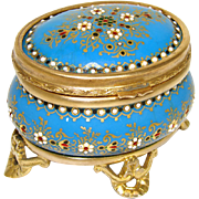 "SALE Fab Antique French Jewelry Casket, ""Jeweled"" Tahan Enamel & Gilt Ormolu"