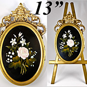 SOLD Fine Large Antique Pietra Dura Locket Frame and Easel Stand, Florals of Italy Micro Mosai