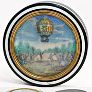 SOLD Antique French Table Snuff Box with Miniature Painting, Louis XIV's Hot Air Balloon at Ve