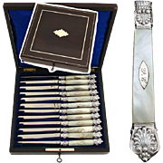 """SALE Antique French Sterling Silver & Mother of Pearl 12pc 8"""" Table Knife Set, Rosewood B"""