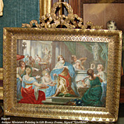 """SOLD Large Antique HP Miniature Painting, Marvelous Figural Grouping with King: Signed """"G"""