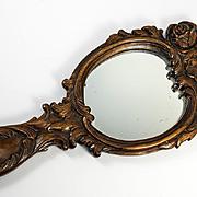 "SALE Large 14.5"" Long Hand Carved Black Forest Frame & Mirror, c. 1880"