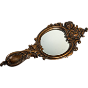 "SALE Large 14.5"" Long Hand Carved Black Forest Frame & Mirror, c. 1880"