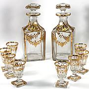 SALE Fine 19th C. French Baccarat Crystal 2 Decanter & 8 Cordials Liqueur Service, Set