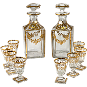 SALE Fine 19th C. French Baccarat Crystal 2 Decanter & 8 Cordials Liqueur Service, Set