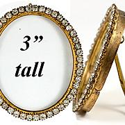 "SALE Antique French Paste Gem Stone 24K Gold PlatedAMW 3"" Tall Photo Frame, Portrait Mini"