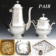 SALE Elegant Antique French Sterling Silver 2pc Coffee or Tea Pot & Sugar Set, PAIR