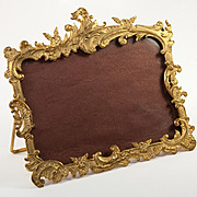 """SOLD Antique French Ormolu Photo Frame, RARE Horizontal 4""""x 6"""", Easel Stand, Rocaille"""
