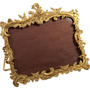 "SOLD Antique French Ormolu Photo Frame, RARE Horizontal 4""x 6"", Easel Stand, Rocaille"