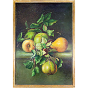 """SALE Antique French Oil Painting, Fruit Still Life, in Wood Frame, 17.5"""" x 19.5"""""""