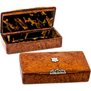 SOLD Antique French Snuff Box, Burled Wood and Sterling Silver Cartouche, c.1780
