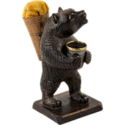 SOLD Antique Hand Carved Black Forest Bear Thimble Holder and Pin Cushion, Sewing Stand