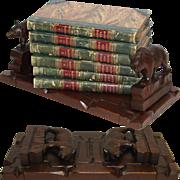 "SALE Antique Hand Carved Swiss Black Forest 10.5"" Book Rack, 2 Bears, Breinz? &amp ..."