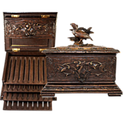 SOLD Antique Hand Carved Black Forest Cigar Chest, Box, Server - 4 Trays for 36 Cigars Total,