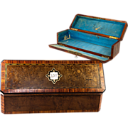 SOLD Antique French Ebeniste's Parquetry Glove Box, Working Lock with Key, Drop-Front