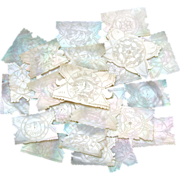 SALE Gorgeous 24pc Antique Napoleon III Chinese Import Mother of Pearl Game Chips, Silk Winder