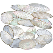 SALE Antique Napoleon III Era Chinese Import 22pc Mother of Pearl Game Chips, Engraved Tokens