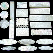 SALE Antique Napoleon III Era Chinese Import 20pc Mother of Pearl Game Chips, Engraved Tokens