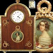 SOLD Rare Antique French Empire Revival Desk Clock, Portrait Miniature: Robert Linzeler marked