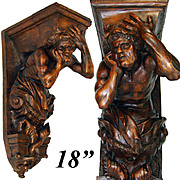 "SOLD Antique Victorian Era Carved Walnut 18"" Bracket Shelf, Console Table or Architectural o"