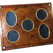 """SALE Antique Napoleon III French Burled Wood Frame, 5 Apertures, Easel Stand 12"""" x 9"""""""