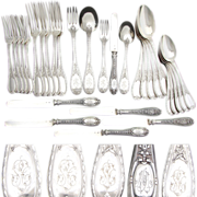 SALE Antique French Sterling Silver 30pc Flatware Set, 5p Setting for SIX, Beautifully Ornate