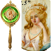 """SOLD Fine Antique French Napoleon III 12.5"""" Vanity or Hand Mirror, Bronze with Green Guil"""