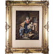 SALE Antique French Frame and Superb Louis Philippe Era Chromo Print with Hand Painting, c ...