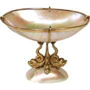 "SOLD Antique Napoleon III Era Mother of Pearl & Gilt Ormolu ""Vide Poche"", Jewelr"