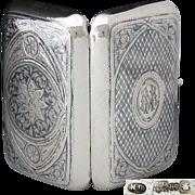 SALE Antique Russian Sterling Silver Cigar Case, 6+oz, Itska Lozinski, Moscow Silversmith, ...