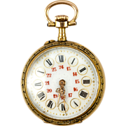 SOLD Fine Antique 18k Gold Watch, Runs, Enamel Dial and