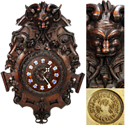 "SALE Magnificent Antique French Black Forest Style Carved Oak 23"" Wall Clock, Renaissance"