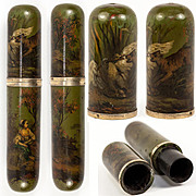 SALE Antique French 1700s Billet Doux, HP Vernis Martin, Dog & Swan - Courier's Message Tube f