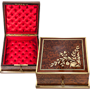 SALE Antique French Jewelry Box, Casket, c.1850-80, Excellent Condition, Lock & Key