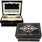 SALE Antique French Jewelry Box, Casket, c.1830s Louis-Philippe, 2 Baccarat Perfume Scent ...