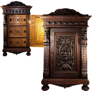 "SALE Superb Antique 25"" Tall Carved Oak Wall Cabinet or Nightstand, 3 Drawers"