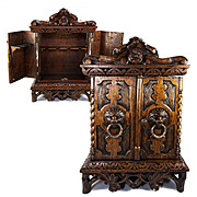 SALE Antique Hand Carved Black Forest or English Smoker's Chest, Cabinet, Lions