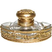 """SALE Antique Napoleon III French Empire Style 4.5"""" Inkwell, Cut Crystal & Gilt Bronze Cas"""