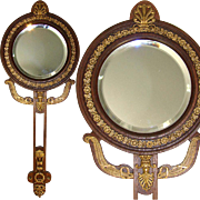 "SALE Lovely Antique French Empire Revival Style 14.25"" Hand or Vanity Mirror, Dore Bronze"