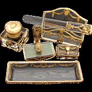 SALE RARE Antique French Empire Style 7pc Desk Set, Baccarat Crystal, Glass & Gilt Bronze: ...