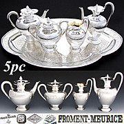SALE Fabulous & Rare Complete 5pc French Sterling Silver Tete-a-Tete or Solitaire Sized Coffee