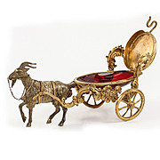 """SALE Antique French Goat Cart, Cranberry Glass """"Egg"""" is a Pocket Watch Stand, Jewelr"""